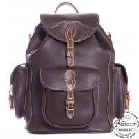 """Кожаный рюкзак """"Мидл"""" (темно-коричневый)"""