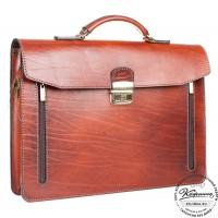 """Кожаный портфель-папка ручной работы """"Оберон"""" (тёмно-рыжий)"""