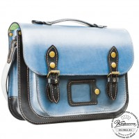 """Кожаный портфель """"Сатчел""""  (чёрно-голубой)"""