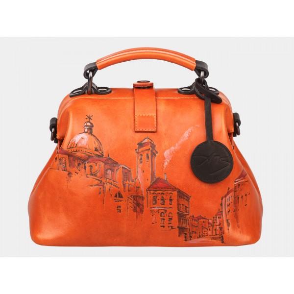 Женская кожаная сумка-саквояж «Оксфорд». фото 1