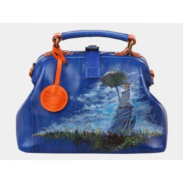 Женская кожаная сумка «Дама с зонтиком». фото 1