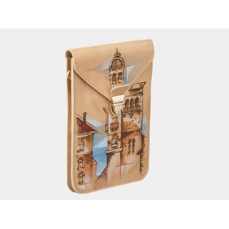 Кожаный клатч «Башня» (бежевый)