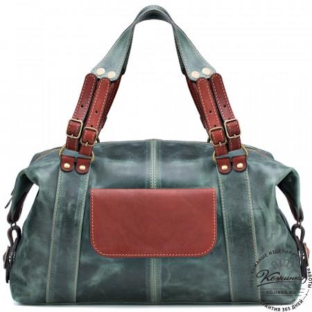 """Женская кожаная сумка """"Эколь New"""" (зелёный крейзи)"""