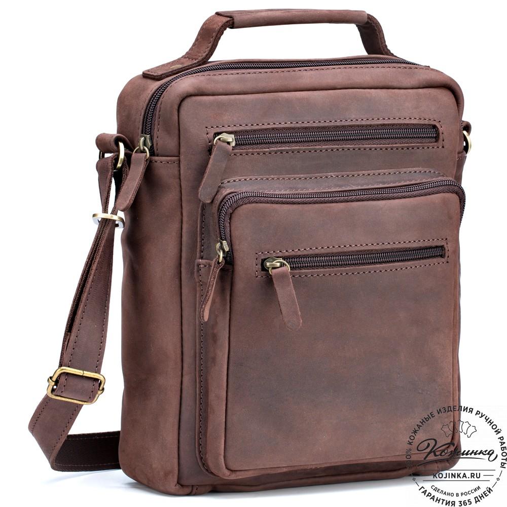 """Кожаная сумка """"Гектор"""" (коричневый крейзи)"""