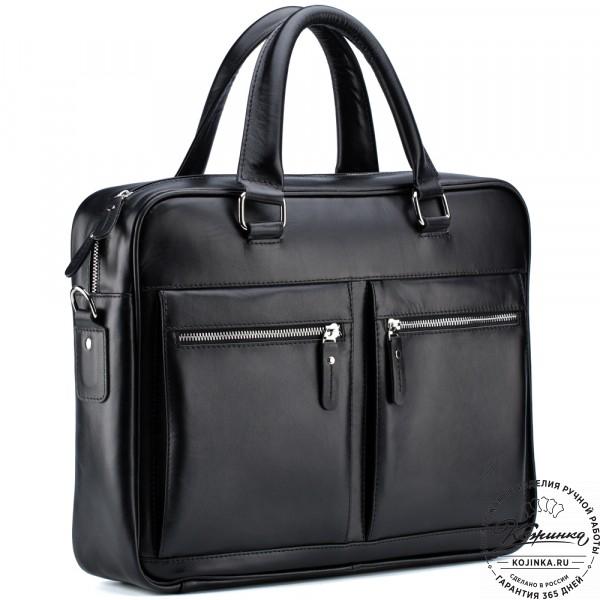 """Кожаная деловая сумка """"Гофман"""" (чёрная) . фото 1"""