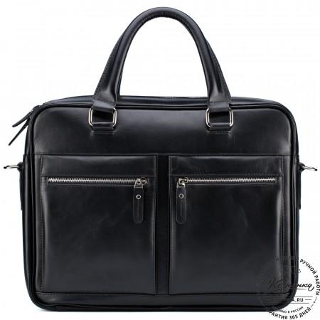 """Кожаная деловая сумка """"Гофман"""" (чёрная)"""