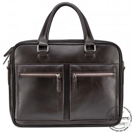 """Кожаная деловая сумка """"Гофман"""" (коричневая)"""