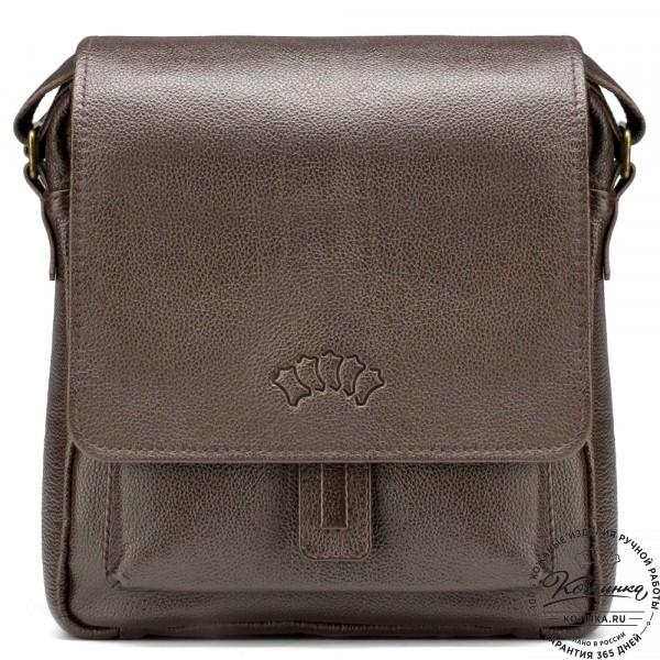 """Кожаная сумка через плечо """"Алекс"""" (коричневая) . фото 1"""