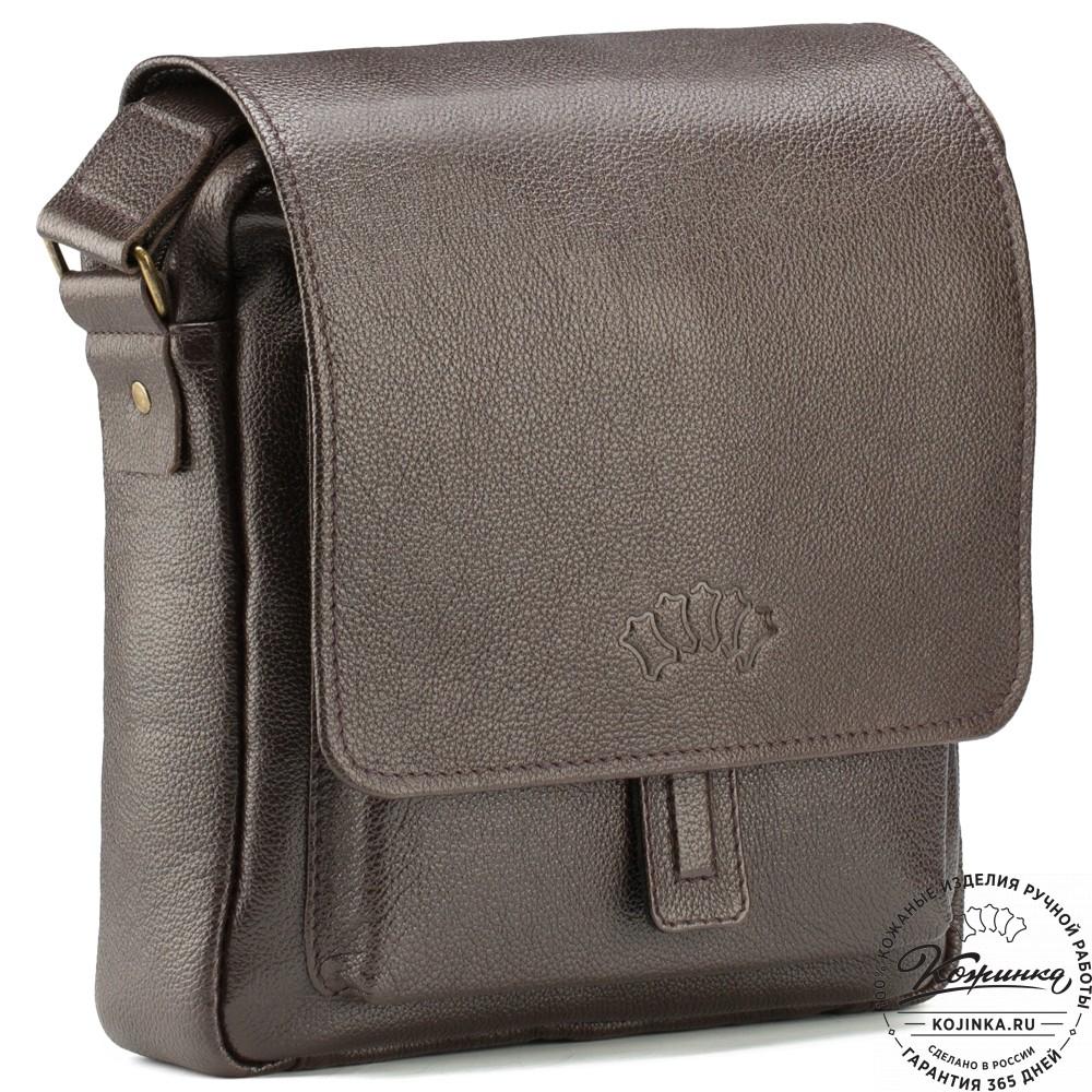 """Кожаная сумка через плечо """"Алекс"""" (коричневая)"""