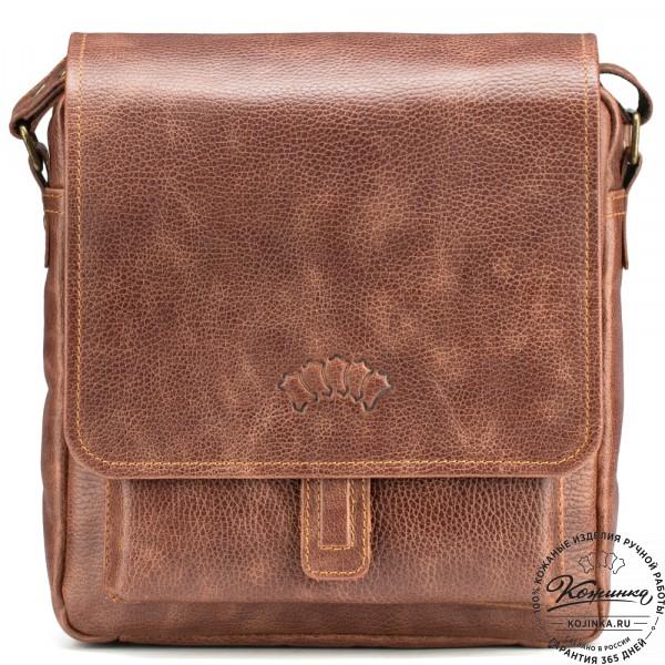 """Кожаная сумка через плечо """"Алекс"""" (светло-коричневая) . фото 1"""