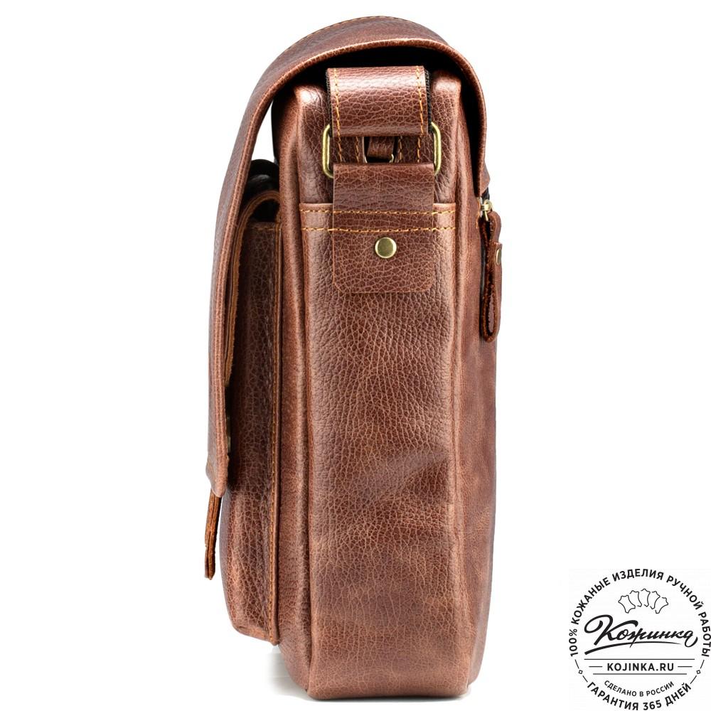"""Кожаная сумка через плечо """"Алекс"""" (светло-коричневая)"""