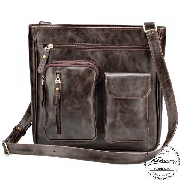 """Кожаная сумка """"Боб"""" (тёмно-коричневый антик). фото 1"""