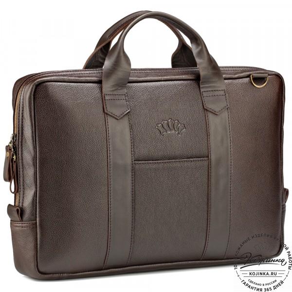 """Кожаная деловая сумка """"Дионис"""" (коричневая) . фото 1"""