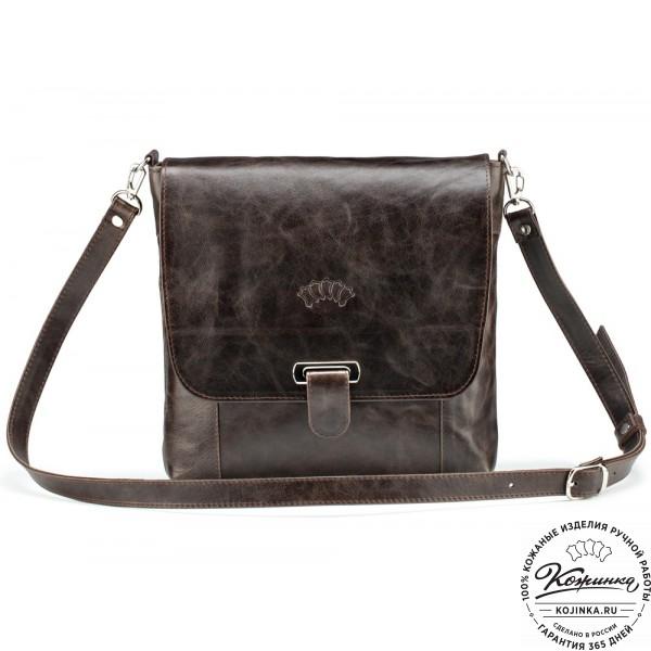 """Кожаная сумка """"Дуглас"""" (тёмно-коричневый антик). фото 1"""