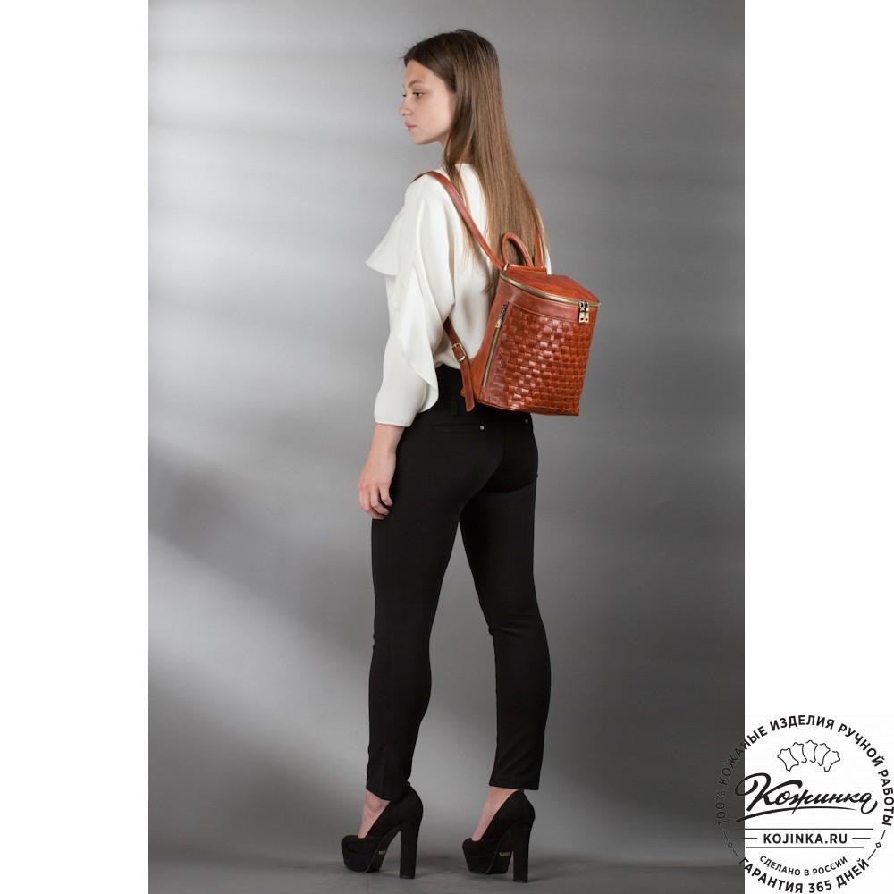 """Женский кожаный рюкзак """"Фелиция"""" (рыжий антик)"""