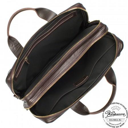 """Кожаная деловая сумка """"Гранд Карлос"""" (коричневая)"""