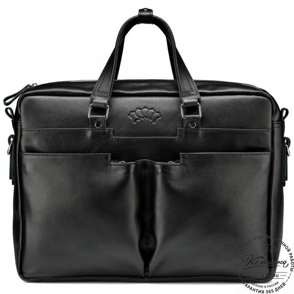 """Кожаная деловая сумка """"Хантер"""" (чёрная). фото 1"""