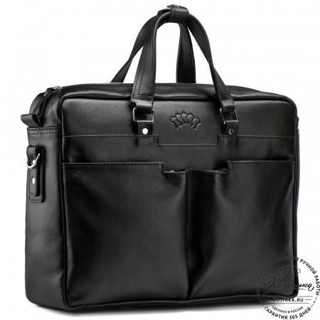 "Кожаная деловая сумка ""Хантер"" (чёрная)"