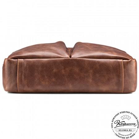 """Кожаная деловая сумка """"Хантер"""" (светло-коричневая)"""