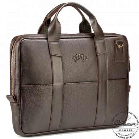 """Кожаная деловая сумка """"Карлос"""" (коричневая)"""