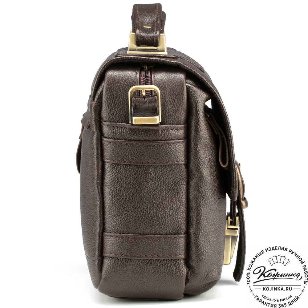 """Кожаная сумка через плечо """"Оливер"""" (коричневая)"""