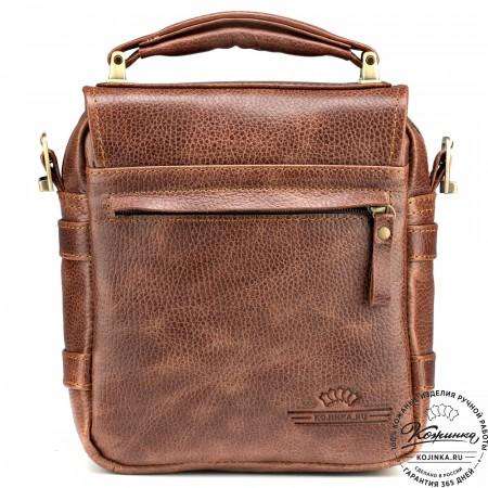 """Кожаная сумка через плечо """"Оливер"""" (светло-коричневая)"""