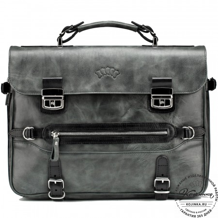 """Кожаный портфель """"Сталкер"""" (черный антик)"""