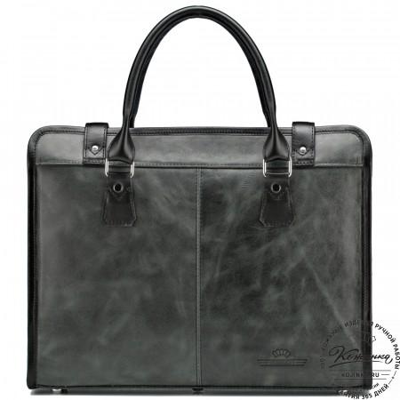 """Кожаная деловая сумка """"Юстин"""" (чёрный антик)"""