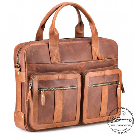 """Кожаная деловая сумка """"Гильермо"""" (рыжий крейзи)"""