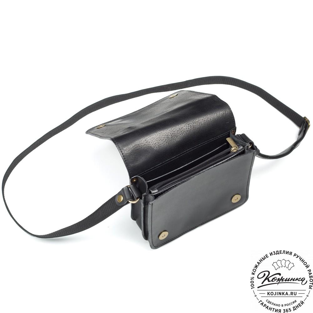 """Кожаная сумка """"Клаус"""" (черная)"""