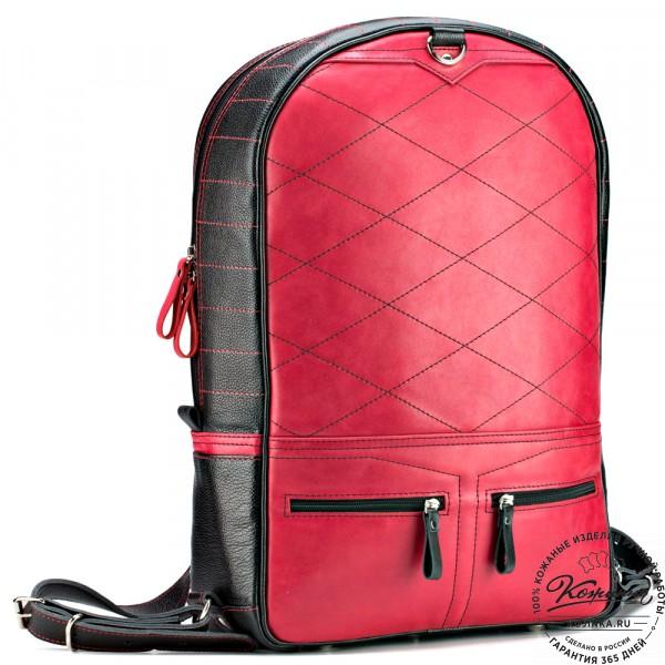 """Кожаный рюкзак-трансформер """"Покер"""" (чёрный с красным) . фото 1"""