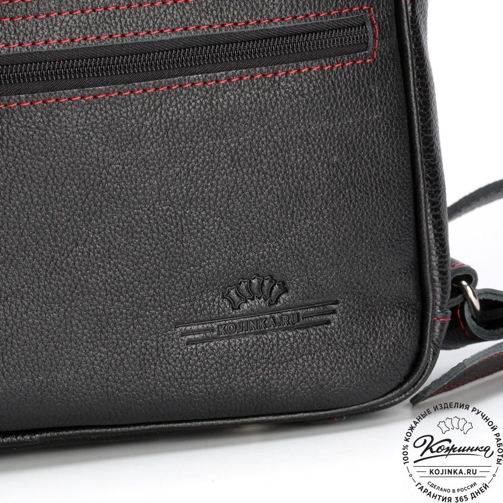 """Кожаный рюкзак-трансформер """"Покер"""" (чёрный с красным)"""