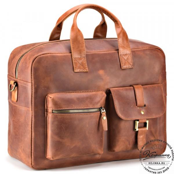 """Кожаная деловая сумка """"Райли"""" (рыжий крейзи) . фото 1"""