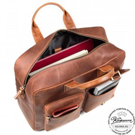 """Кожаная деловая сумка """"Райли"""" (рыжий крейзи)"""