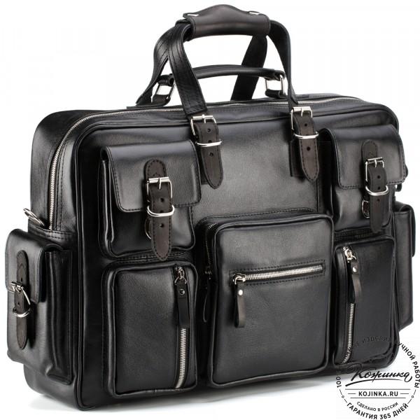 """Кожаная деловая сумка для командировок  """"Ричард"""" (чёрная). фото 1"""
