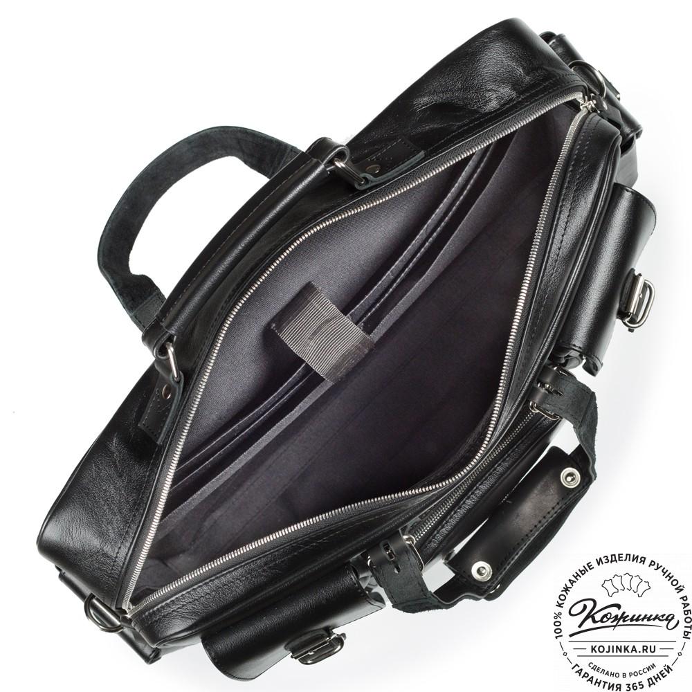 """Кожаная деловая сумка для командировок  """"Ричард"""" (чёрная)"""
