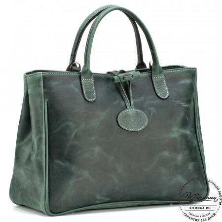"""Женская кожаная сумка """"Шампань"""" (зелёный крейзи)"""