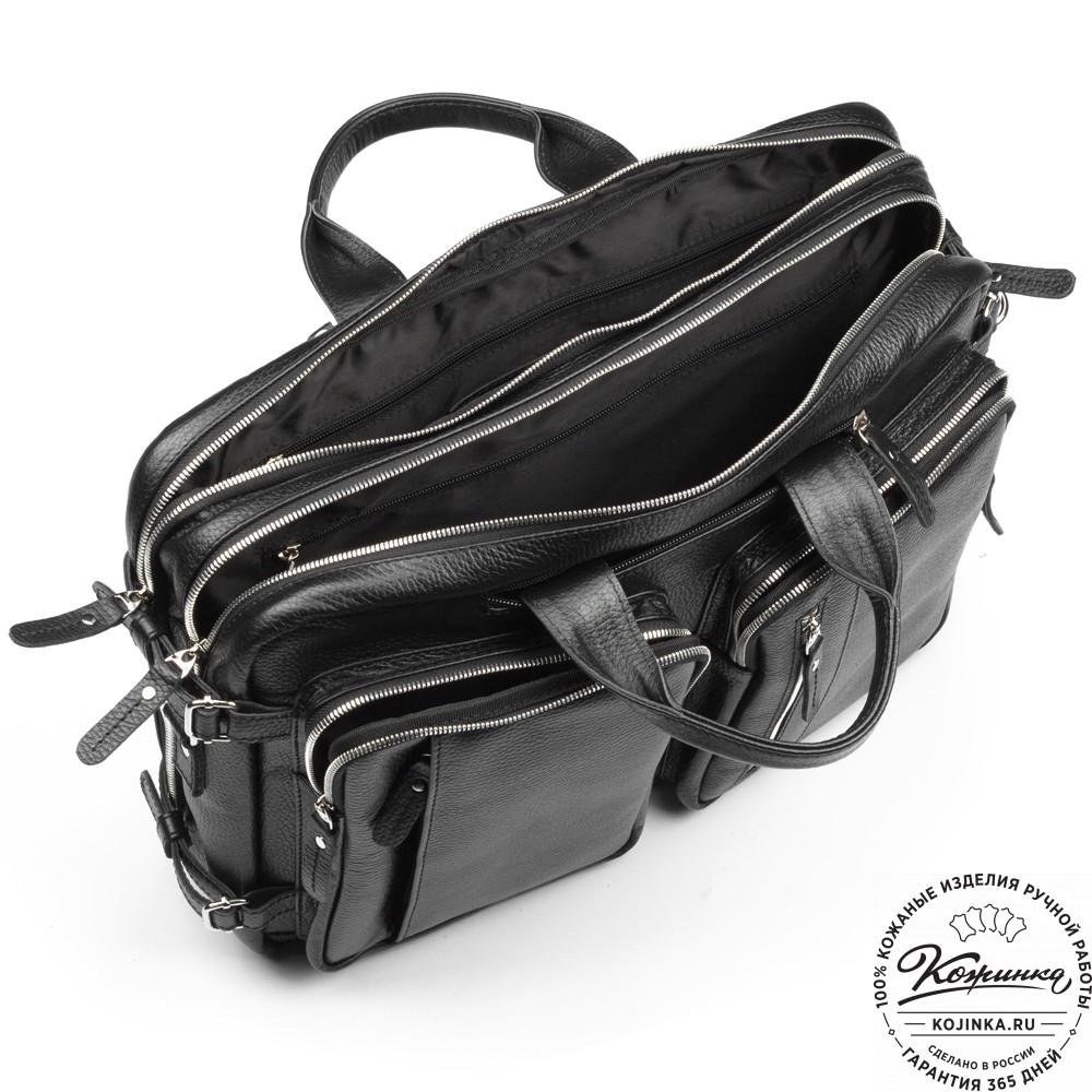 "Кожаная сумка-рюкзак ""Бигмэн"" (черная)"