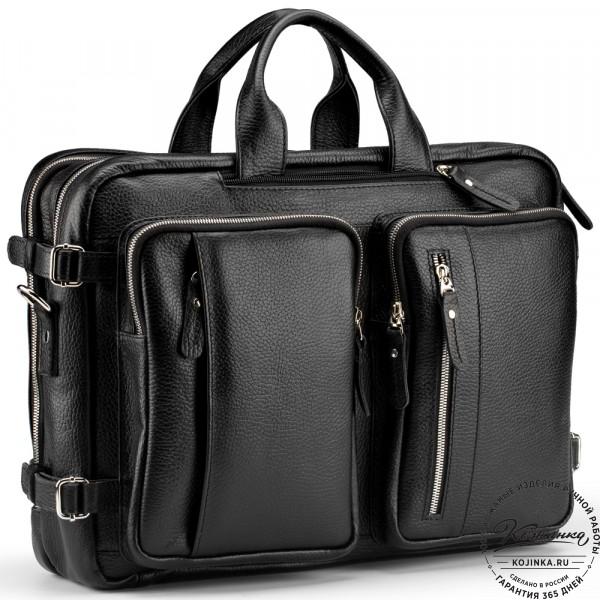"""Кожаная сумка-рюкзак """"Бигмэн"""" (черная). фото 1"""