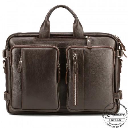 """Кожаная сумка-рюкзак """"Бигмэн"""" (коричневая)"""