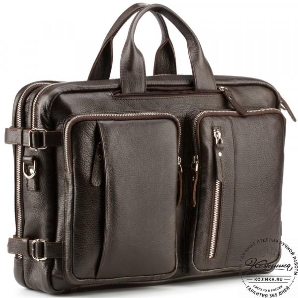 """Кожаная сумка-рюкзак """"Бигмэн"""" (коричневая). фото 1"""