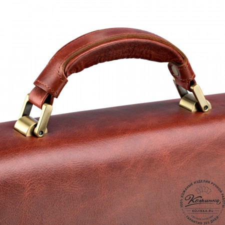 """Кожаный портфель """"Борменталь"""" (рыжий антик)"""