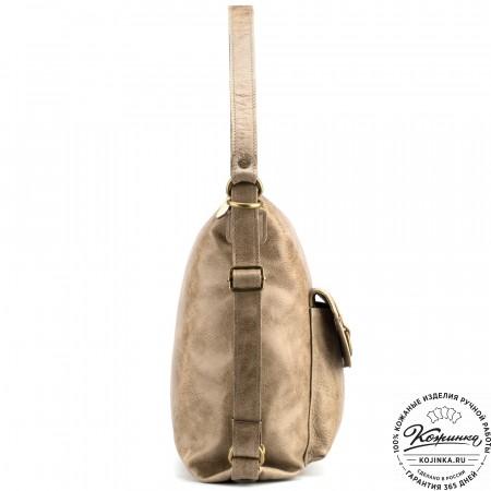 """Женская кожаная сумка-рюкзак """"Ника"""" (оливковая)"""