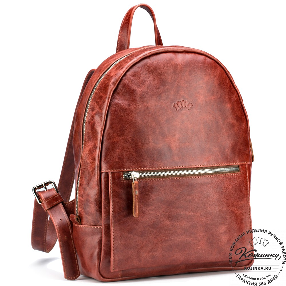 """Кожаный рюкзак """"Джессика"""" (рыжий антик)"""