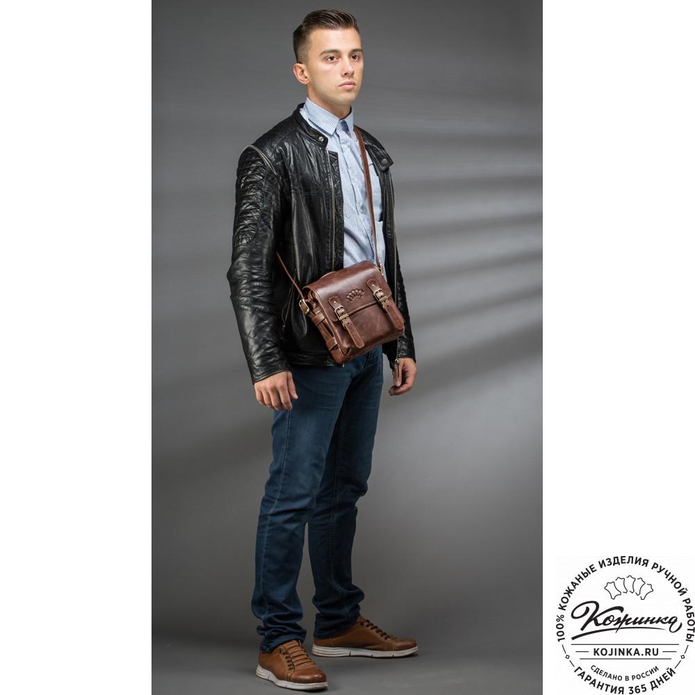"""Кожаная сумка через плечо """"Джек"""" (светло-коричневая)"""