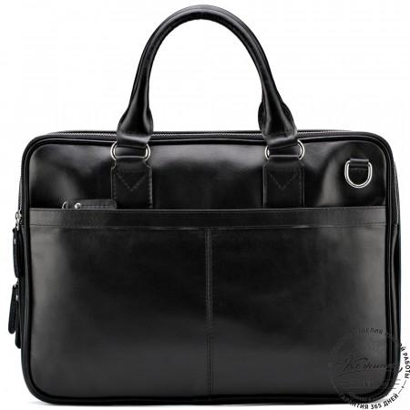 """Кожаная деловая сумка """"Кларк"""" (чёрная)"""