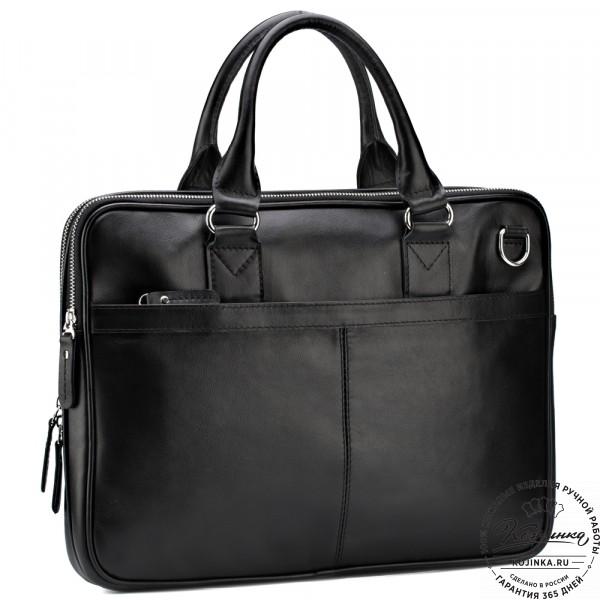 """Кожаная деловая сумка """"Кларк"""" (чёрная) . фото 1"""
