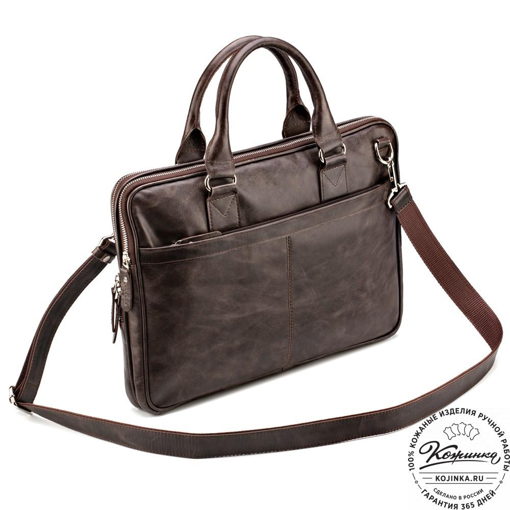 """Кожаная деловая сумка """"Кларк"""" (коричневый антик)"""