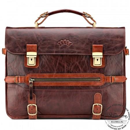 """Кожаный портфель """"Сталкер"""" (коричневый антик)"""