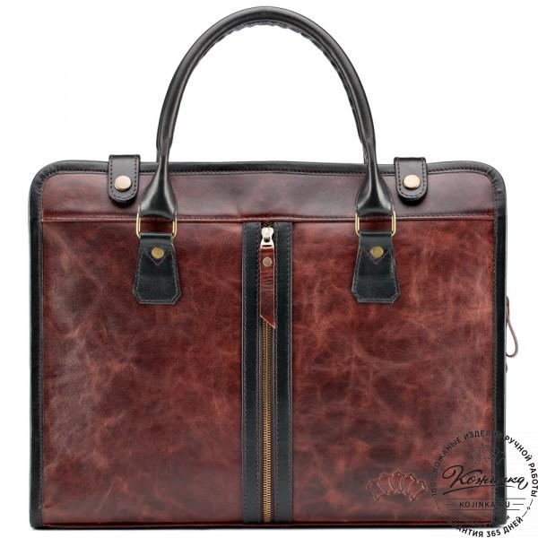 """Кожаная деловая сумка """"Юстин"""" (коричневый антик). фото 1"""